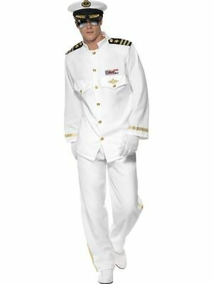 FANCY DRESS MENS DELUXE WHITE SAILOR CAPTAIN W/ HAT - SIZES M, L, XL (hanging)