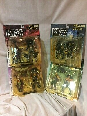 New set of all 4 - 1998 KISS  Psycho Circus Figures in Their Original Packaging