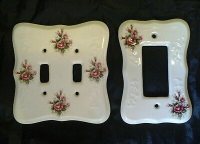 2 Vtg TH Athena USA porcelain moss rose light switch cover plates=double+dimmer!