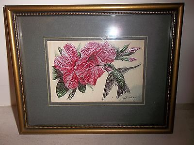 cashs ruby throated humming bird silk picture