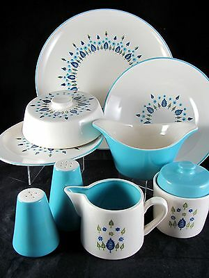 Marcrest Swiss Chalet Alpine Serving, 10 pc, Stetson, shaker, butter, bowl, vtg