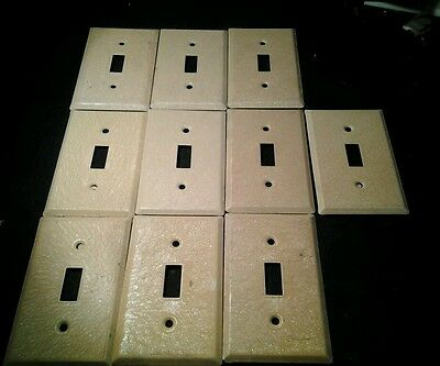 Vintage retro tan textured deco metal wall switch plates no screws