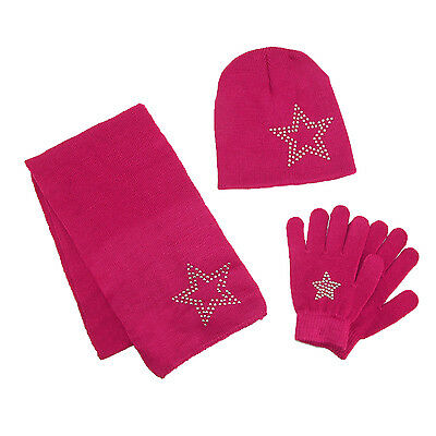 New CTM Girls' Stud Accent Hat Glove and Scarf Winter Set