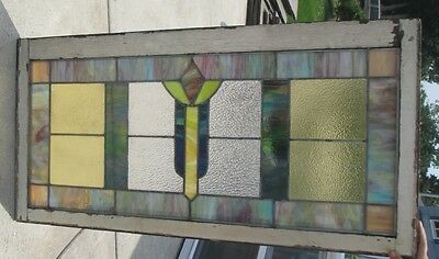 Antique Vintage Stained Glass Window  Privacy Glass Green And Yellow #2