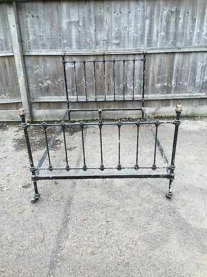 Barn Find Small Double Cast Iron and Brass Antique Bed