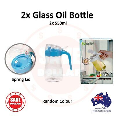 2x 550ml Kitchen Glass Cooking Oil Dispenser Pourer Cruet Bottle Vinegar Sauce