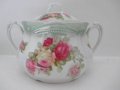 Beautiful Antique Roses Ribbed Porcelain Cookie Biscuit Jar Canister w/ Lid
