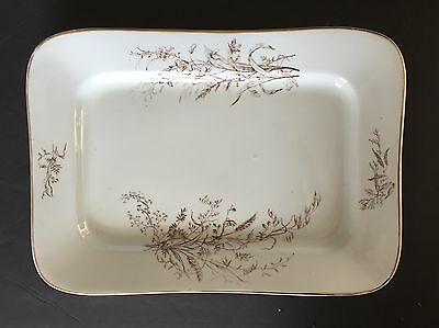 Antique Maddock & Co. Large Brown And White Transfer Serving Platter