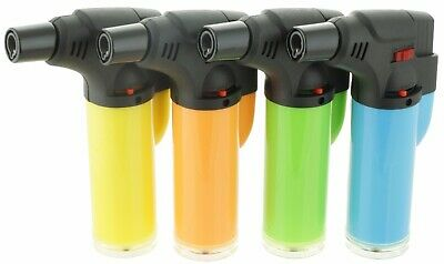 "4 Pack Jumbo 4"" Single Jet Flame Torch Gun Lighter Refillable Lockable Windproof"