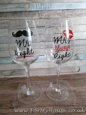 Mr Right & Mrs Always Right wine glasses wedding anniversary LP33343