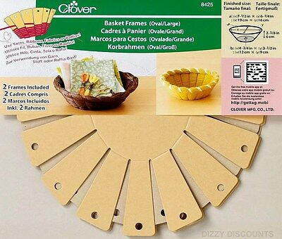 CLOVER 6cmx19cm Craft Gift 2x BASKET FRAME KIT Wool Ribbon Recycle OVAL LARGE