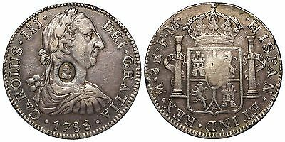 1788 George III oval counter marked mexico mint UN-REAL 8 Reales