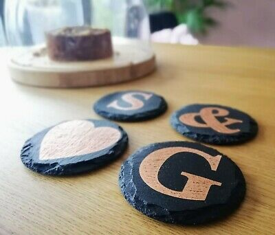Custom letter coasters, monogram drink mats, personalised gift, gilded copper
