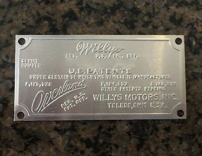 JEEP WILLYS OVERLAND SERIAL NUMBER DATA PLATE NOT A REPRODUCTION New Old Stock