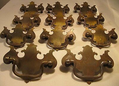 11- Vintage Antique Drop Handle Drawer Pulls Chippendale Early American Colonial