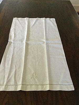 """Pair Of 1930""""s White Huck And Damask Linen Towel With Monogram  17X30 Beautiful"""