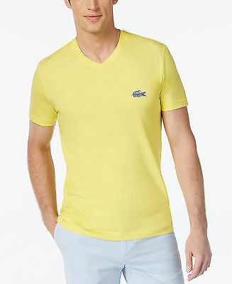 d4dff152 NWT Lacoste Men's T-Shirt Contemporary Contrast Croc V-Neck Tee In Yellow Sz