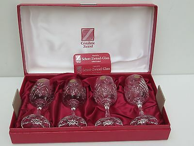 """Vintage Zwiesel Cristallerie """"tiffany"""" Pattern Wine Glasses With Box - Germany"""