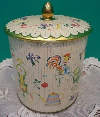 Vtg Metal Container England Floral Canister Coffee Flour Tin