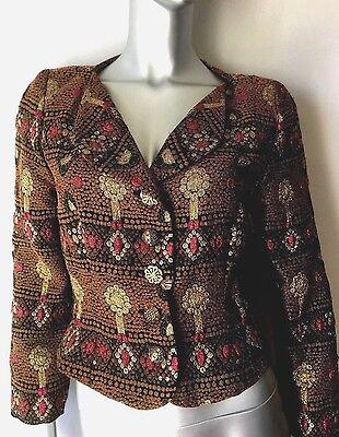 "Vintage ""80s HOLLY HARP Moroccan Inspired Jewel Tone Metallic Jacket SM PETITE"