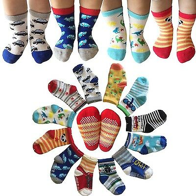 6 Pairs Anti-Slip Assorted Non Skid Kids Cozy Ankle Cotton Socks Baby Boys Gi...
