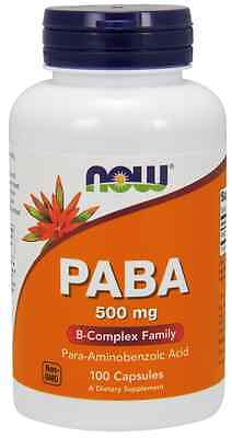 New - NOW Foods Paba 500 mg 100 Caps