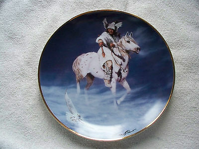 Hermon Adams Spirit Of The Winter Hawk Indian Horse Collector Plate