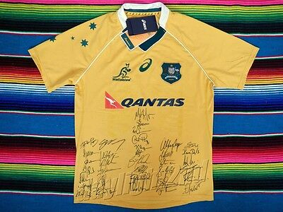 Signed 2016 QANTAS WALLABIES Jersey PROOF COA 35 Autographs Rugby Union