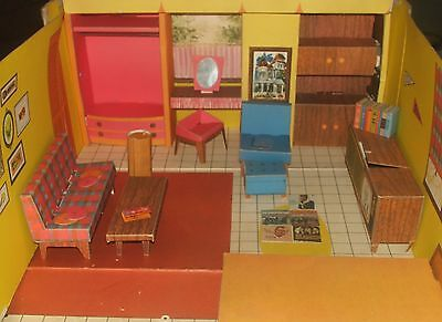 1962 Barbie Dream House Vintage Cardboard Doll House w/ Furniture & Accessories
