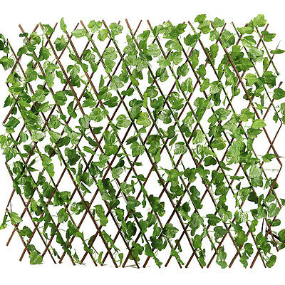 Expandable Artificial Faux Ivy Leaf Fence Decor Privacy Screen Patio Yard Garden