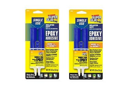 2 Pack - Super Glue Single Use Epoxy 30 Minute Delayed Setting SYRINGE Free Ship