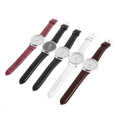 Fashion Men Women Simple Style Big 3 Hands PU Leather Quartz Wrist Watch GT