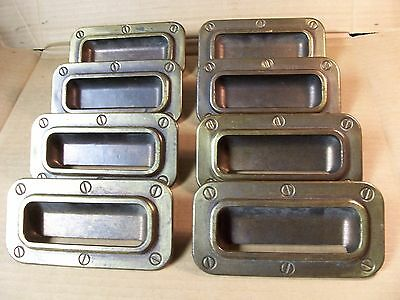 (8) Vintage Brass Finish Drawer Pulls / Handles -- Original Screws Included