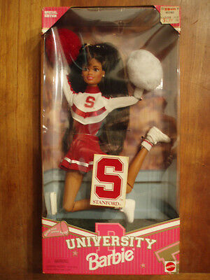 NIB!  NEW!  STANFORD UNIVERSITY AFRICAN AMERICAN Barbie Cheerleader Doll 1996
