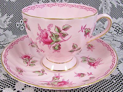 Tuscan Hand Painted Pink Roses Swirled Tea Cup And Saucer