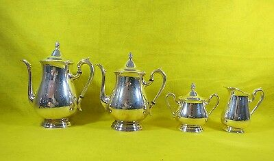 Reed And Barton Jamestown Silver Plate 4 Piece Coffee Tea Set Ships Free!