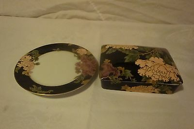 Fitz And Floyd Cloisonne Peony 6.5 Inch Plate And Double Deck Playing Cards
