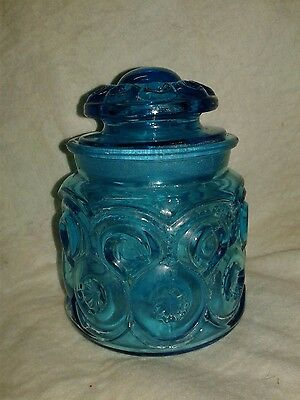 Vintage L E Smith Small Moon and Stars Blue Apothecary Canister