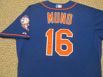 Danny Muno size 48 #16 2015 New York Mets game used jersey Home Alt Blue MLB