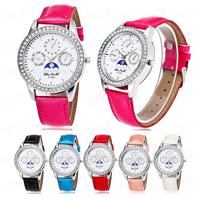 Luxury Woman Watch Time Pattern Crystal Leather Casual Analog Quartz WristWatch