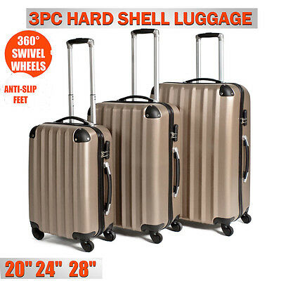 NEW 3 Pcs Luggage Travel Set ABS Trolley Suitcase with Lock Champagne Color 019