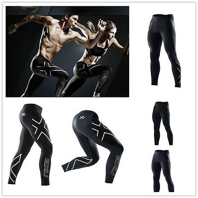 2XU Sports Men Compression Tight Long Pants Jogging Fitness Trousers Black LY