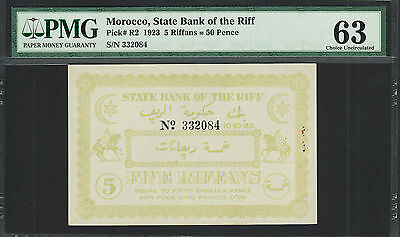 Morocco 'State Bank of the Riff' 5 Riffans = 50 Pence 1923 Pick-R2 Ch UNC PMG 63