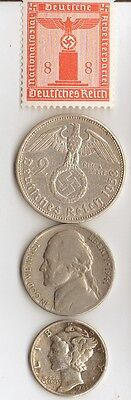 -*free  *ww2  US  *nickel + *WW2 - *german  SILVER  EAGLE coin/stamp