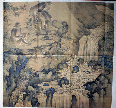 Chinese Ancient famous Painting: Sheng Quan (Qing Dynasty): Bee and Monkey