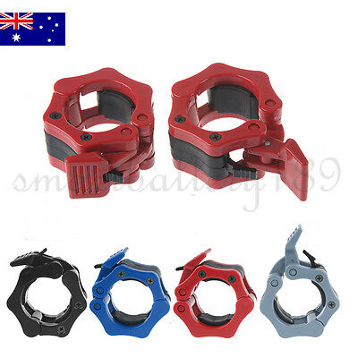 Pro New Pair Lock Jaw Barbell Collars Olympic Bar Weights Clamps Dumbbell Gym