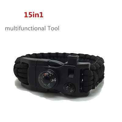 15in1 Survival Paracord Braclet Fire Starter Whistle Buckle Thermometer Black UK