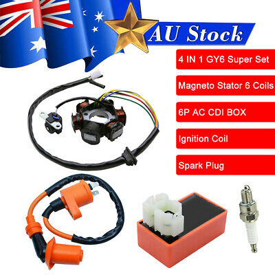 Racing Ignition Coil Magneto Stator Spark Plug CDI Fit GY6 49 50cc Moped Scooter