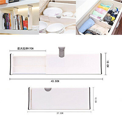 Drawer Dividers White Spring Loaded Expandable Kitchen Bedroom Organizer SP