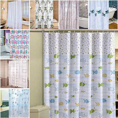 Funny Shower Curtain With Hooks Multi-Pattern Owl Animal Curtains Bathroom Set